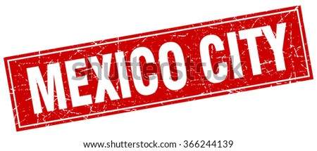 Mexico City red square grunge vintage isolated stamp - stock vector