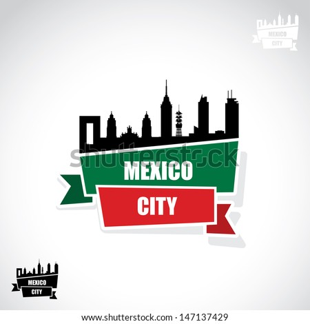 Mexico City ribbon banner - vector illustration - stock vector