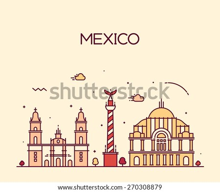 Mexico City skyline detailed silhouette. Trendy vector illustration, line art style. - stock vector