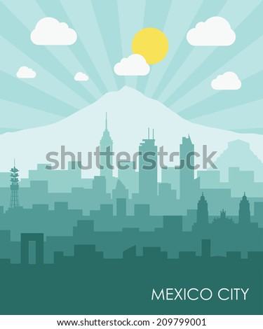 Mexico City skyline - flat design - vector illustration - stock vector