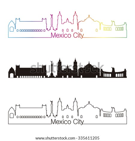 Mexico City skyline linear style with rainbow in editable vector file - stock vector