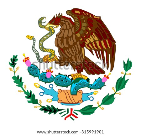 Mexico coat of arms, seal, national emblem, isolated on white background. Vector Coat of arms of Mexico, Original and simple Mexico coat of arms in official colors and Proportion Correctly.