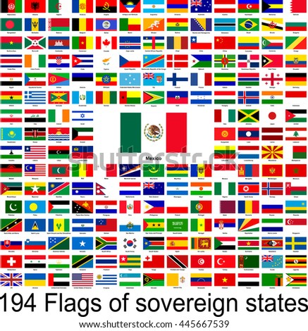 Mexico, collection of vector images of flags of the world