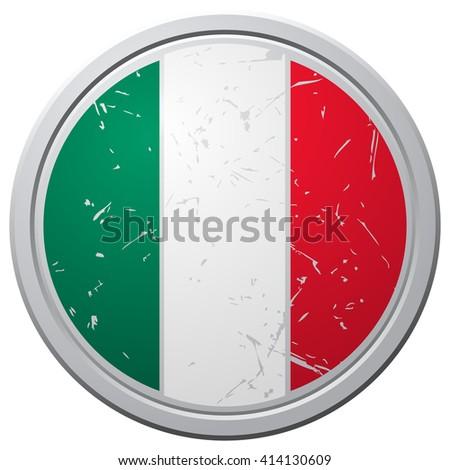 Mexico Flag Button, Vector Illustration.  - stock vector