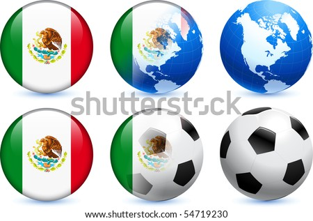 Mexico Flag Button with Global Soccer Event Original Illustration - stock vector