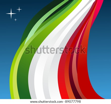 Mexico flag illustration fluttering on blue background. Vector file available. - stock vector