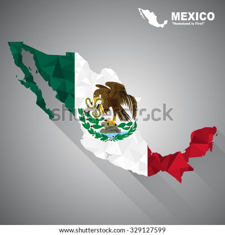 Mexico flag overlay on Mexico map with polygonal and long tail shadow style (EPS10 art vector) - stock vector