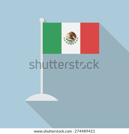 Mexico flag with flagpole flat icon with long shadow. Vector illustration EPS10 - stock vector