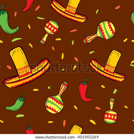 Mexico hand drawn seamless pattern