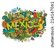 Mexico hand lettering and doodles elements background. Vector illustration - stock photo