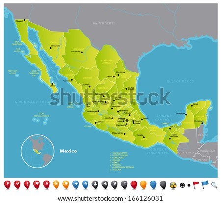 Mexico High detailed vector map of Mexico with navigation icons. The colors in the *.eps-files are ready for print (CMYK) and fully editable. Included files: EPS (v8) and Hi-Res JPG. - stock vector
