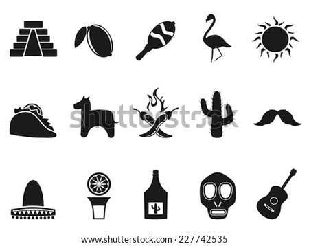 mexico icons set - stock vector