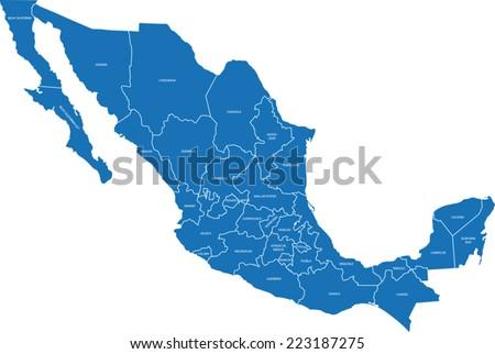 mexico map - stock vector