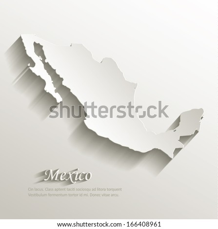 Mexico map card paper 3D natural vector - stock vector