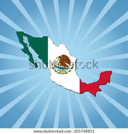 Mexico map flag on blue sunburst illustration - stock vector