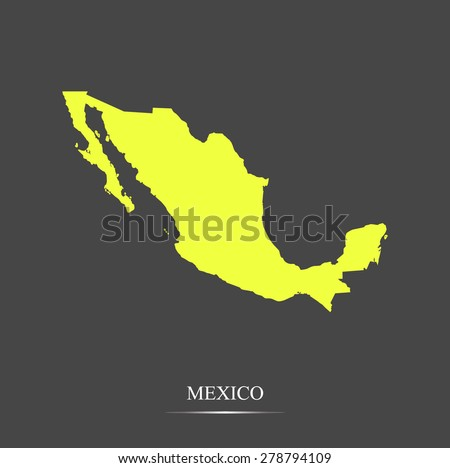 Mexico map outlines in highlighted grey background, vector map of Mexico in highly contrasted design for brochure template, tourist map, advertisement, web page design, science and education uses - stock vector