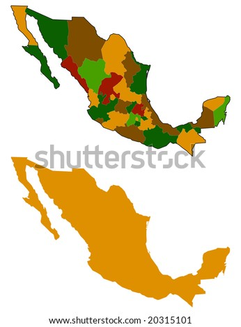 mexico map silhouette and all states - stock vector