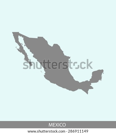 Mexico map vector, Mexico map outlines in a contrasted background for brochure design and publication uses - stock vector