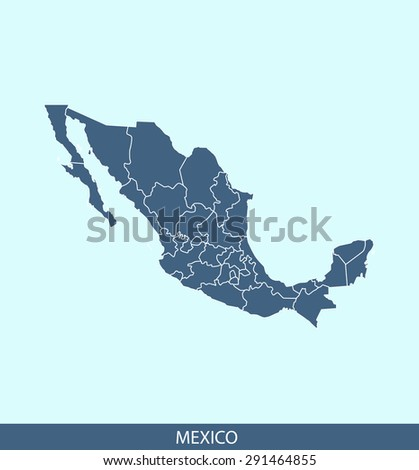 Mexico map vector, Mexico map outlines in a contrasted blue background for brochure and web-page templates and science & publication uses - stock vector