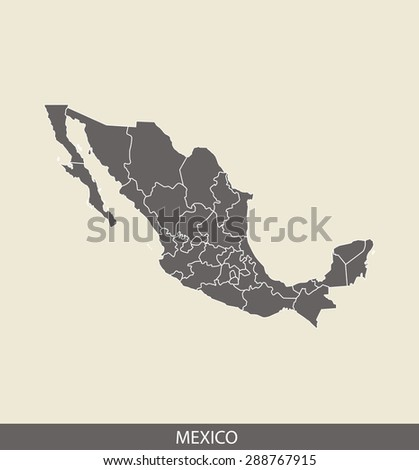 Mexico map vector, Mexico map outlines in a contrasted grey background for brochure and web-page templates and science & publication uses - stock vector
