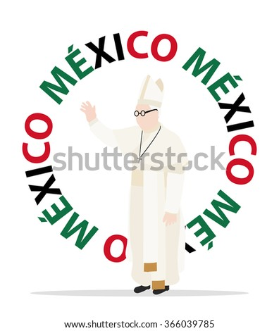 MEXICO, MEXICO - JANUARY 20, 2015: Visit of the Christian pope to Mexico, with one hand up