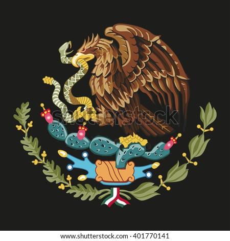 Mexico  national emblem - golden eagle catch snake - stock vector