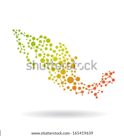 Mexico Networking Map - stock vector