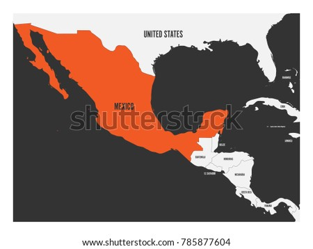 Mexico orange marked political map central vectores en stock mexico orange marked in political map of central america simple flat vector illustration gumiabroncs Image collections