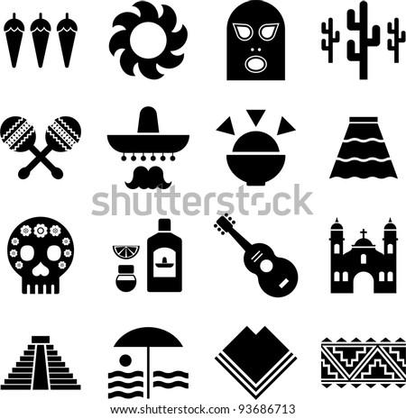 Mexico pictograms - stock vector