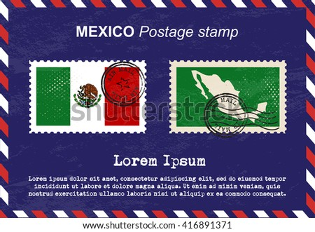 Mexico postage stamp, postage stamp, vintage stamp, air mail envelope. - stock vector