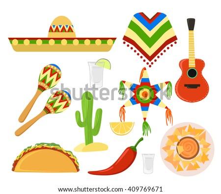 Mexico set cinco de mayo Sombrero, maracas and jalapeno mexico set - stock vector
