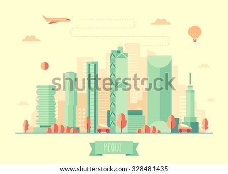 Mexico skyline architecture, vector illustration with plane, cars and air balloon, flat design