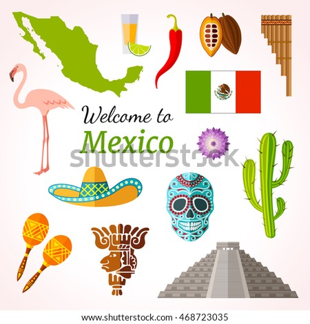 Mexico travel banner with icons, souvenirs, design elements and famous mexican symbols. Vector illustration in flat style with inscription.