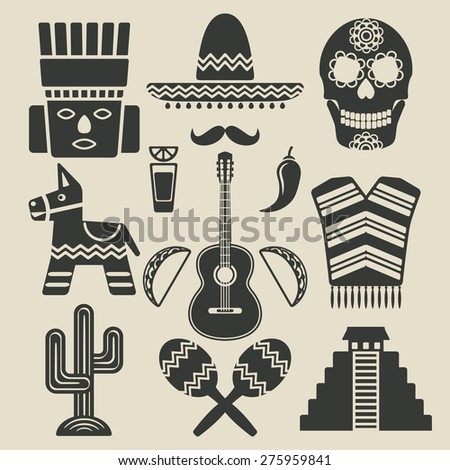 Mexico travel icons set. vector illustration - eps 8 - stock vector