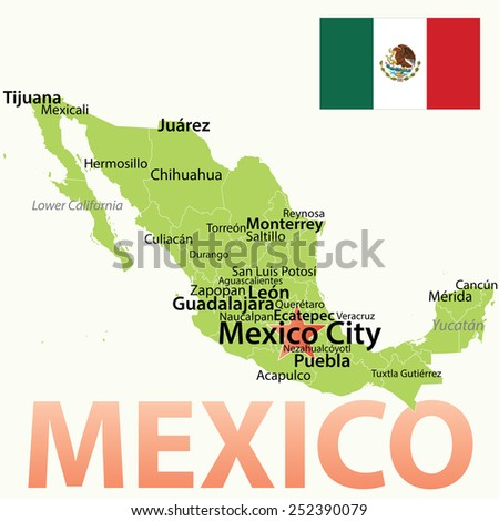 Mexico - vector map with largest cities. Carefully scaled text by city population. - stock vector