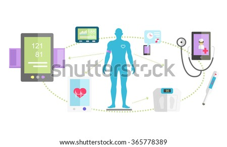 Mhealth technologies system icon flat isolated. Healthcare test, science mobile control, healthy and research medication, medical, scan app, health and patient, aid human illustration - stock vector