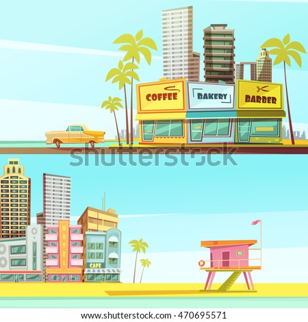 Miami beach horizontal banners in cartoon style with sea shore barber bakery cafe lifeguard cabin flat vector illustration
