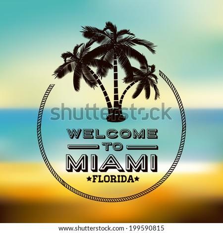 Miami design over blur background, vector illustration - stock vector