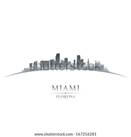 Miami Florida city skyline silhouette. Vector illustration - stock vector