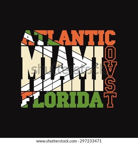 Miami Florida T-shirt fashion Typography label, sport emblem design, graphic print - vector illustration
