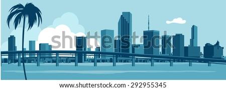 Miami Skyline - stock vector