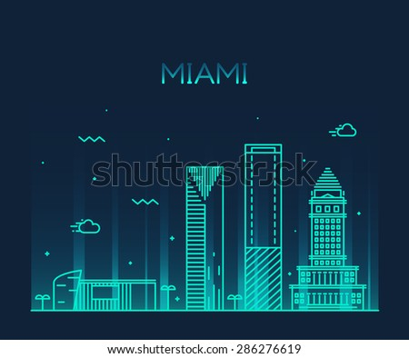 Miami skyline at night, detailed silhouette. Trendy vector illustration, linear style. - stock vector