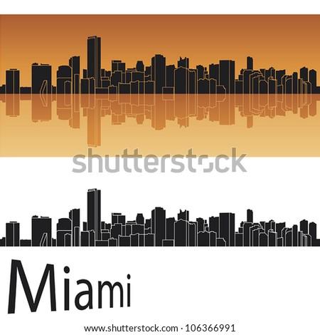 Miami skyline in orange background in editable vector file - stock vector