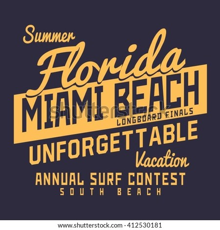 Miami surf typography, t-shirt graphics, vectors