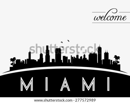Miami USA skyline silhouette, black and white design, vector illustration - stock vector