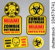 Miami Zombie Outbreak Warning Set - stock vector
