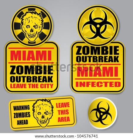 Miami Zombie Outbreak Warning Set - stock vector