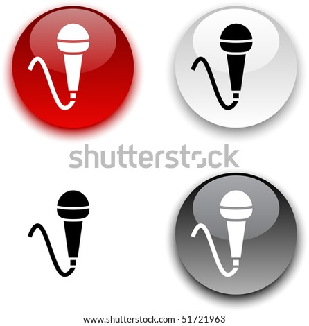 Mic glossy round vector buttons.