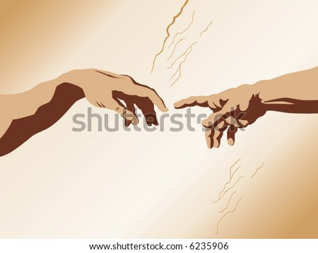 "Michaelangelo's ""the creation of Adam"" recerated in vector form - stock vector"