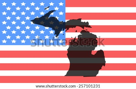 michigan  map on a vintage american flag background - stock vector